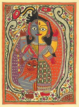 Ardhnarishwar Mahadev Digital Print by Sarita Devi,Folk