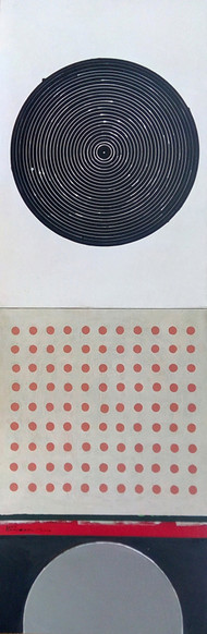 LAGRANGIAN POINT by V .Hariraam , Geometrical Painting, Acrylic on Canvas, Brown color