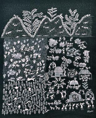 ANCIENT WARLI ARTS ON HANDMADE PAPER by HARPREET KAUR PUNN, Folk Painting, Acrylic on Paper, Gray color