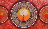 MANDALA - A SOUL CONNECTION SERIES 8 by NITU CHHAJER, Conceptual Painting, Acrylic on Canvas, Brown color