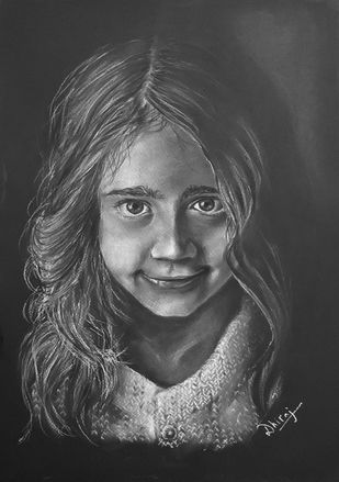 Just a smile by Dhiraj K Singh, Illustration Drawing, Pastel on Paper, Gray color