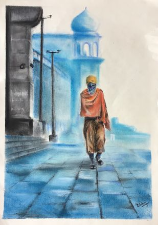 Ghats of Benaras by Dhiraj K Singh, Impressionism Drawing, Pastel on Paper, Cyan color
