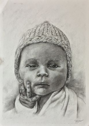 Baby by Dhiraj K Singh, Illustration Drawing, Charcoal on Paper, Gray color