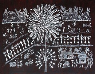ANCIENT WARLI ARTS HOLY TREE ON HANDMADE PAPER by HARPREET KAUR PUNN, Folk Painting, Acrylic on Paper, Gray color