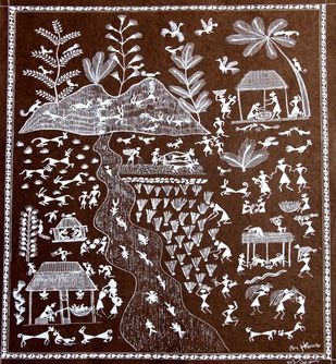 ANCIENT WARLI ARTS ON HANDMADE PAPER by HARPREET KAUR PUNN, Folk Painting, Acrylic on Paper, Brown color