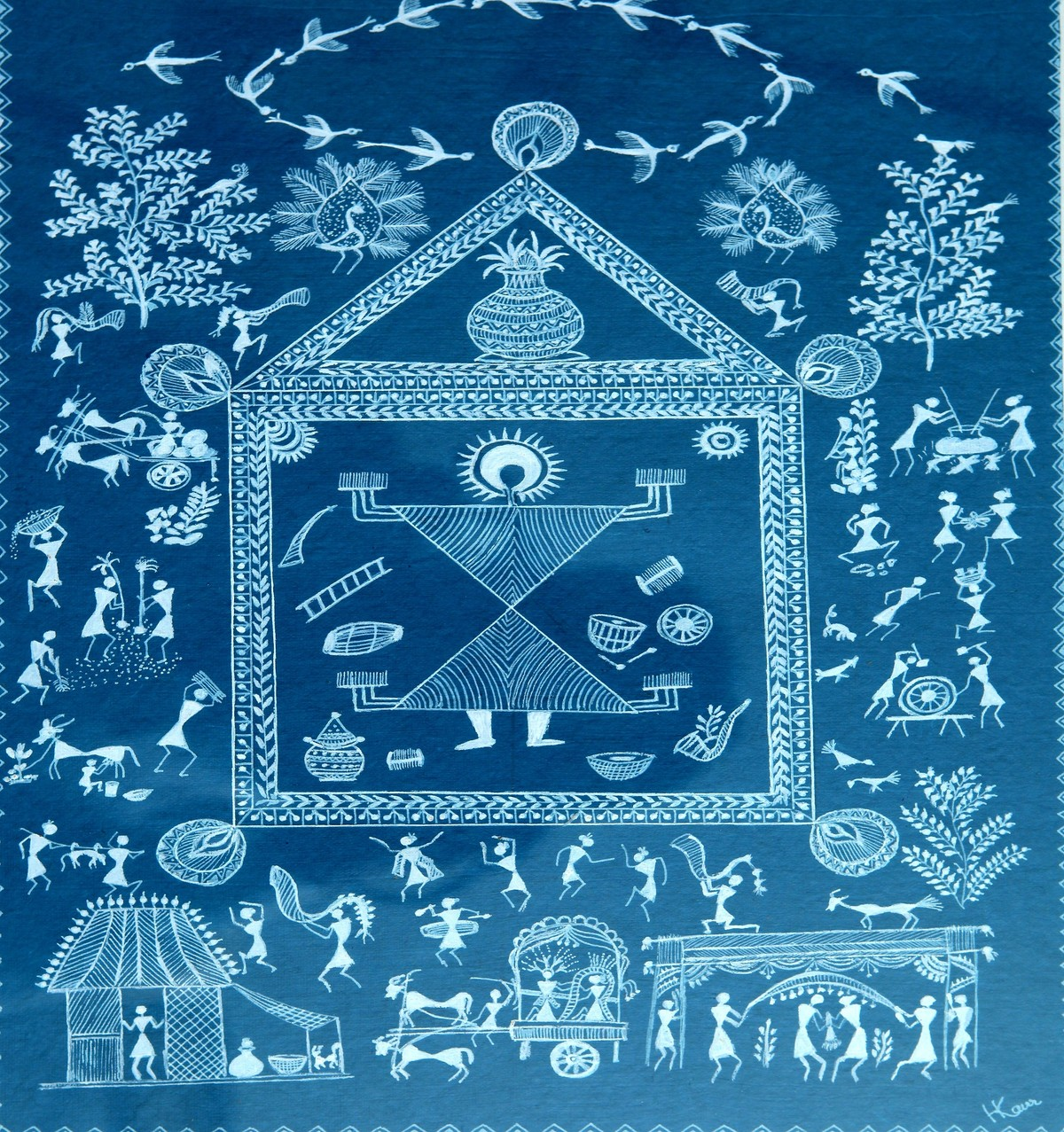 ANCIENT WARLI ARTS ON HANDMADE PAPER by HARPREET KAUR PUNN, Folk Painting, Acrylic on Paper, Blue color