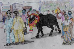 HYD LIFE 09 by Debabrata Biswas, Expressionism Drawing, Mixed Media on Paper, Gray color