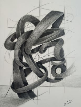 Depiction by AASHISH TANWAR, Illustration Drawing, Charcoal on Paper, Gray color