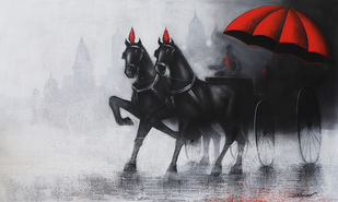 Chasing ride in Monsoon by Somnath Bothe, Impressionism Painting, Charcoal on Canvas, Gray color