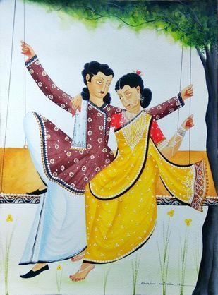 Babu-Bibi on a swing by Bhaskar Chitrakar, Folk Painting, Natural colours on paper, Cyan color