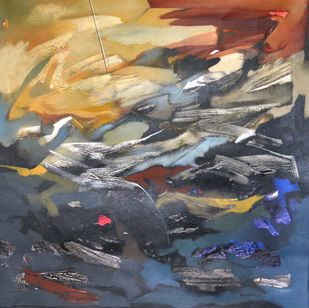 Poetics of Emotions XXXXVIII by Kandan G, Abstract Painting, Acrylic on Canvas, Gray color