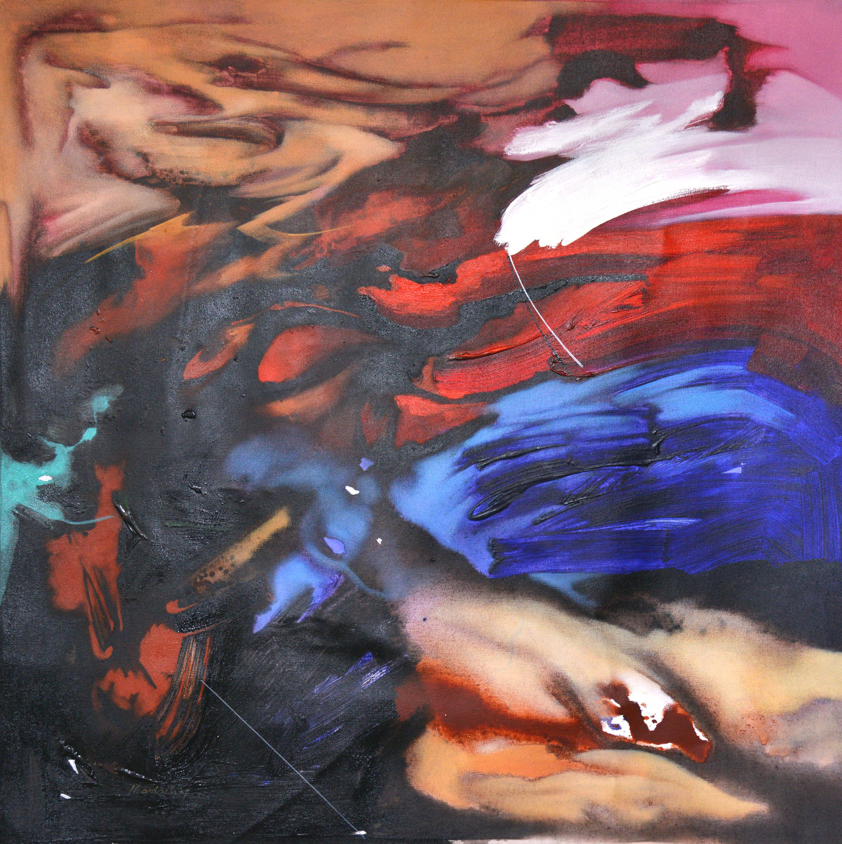 Poetics of Emotions LII by Kandan G, Abstract Painting, Acrylic on Canvas, Brown color