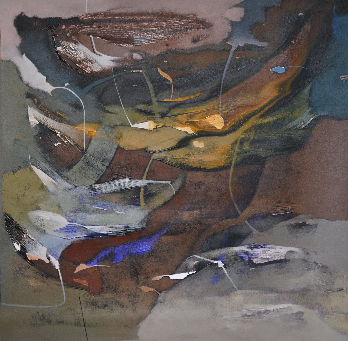 POETICS OF EMOTIONS LIII by Kandan G, Abstract Painting, Acrylic on Canvas, Brown color