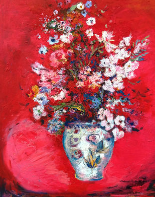 Flowers in Red by Debarati Roy Saha, Expressionism Painting, Oil on Canvas, Red color