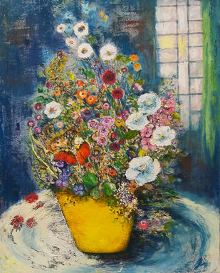 Still life by Debarati Roy Saha, Expressionism Painting, Oil on Canvas, Green color