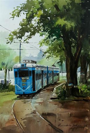 Kolkata-Tram1 by Ranabir Saha, Impressionism Painting, Acrylic on Canvas, Green color
