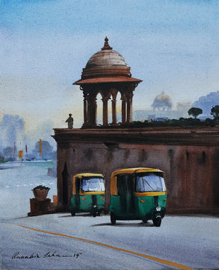 Delhi-auto by Ranabir Saha, Impressionism Painting, Acrylic on Canvas, Cyan color