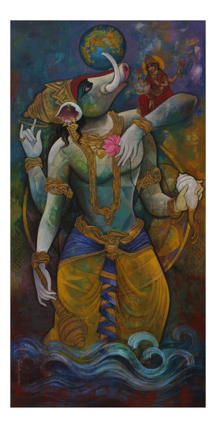 Varaha Avatara by Rajeshwar Nyalapalli, Expressionism Painting, Acrylic on Canvas, Gray color