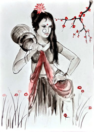 Indian lady 26 by MADURAI GANESH, Illustration Painting, Ink and brush on paper board, Gray color