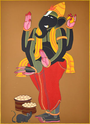Ganesh by Thota Vaikuntam, Expressionism Printmaking, Serigraph on Paper, Brown color