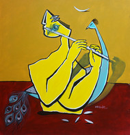 Krishna by Amit Rajvanshi, Expressionism Painting, Acrylic on Canvas, Brown color