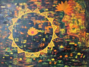 the Sublime by Mallika Bulusu, Geometrical Painting, Oil on Canvas, Brown color
