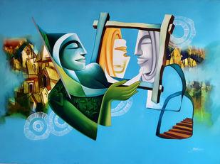 Dreams 1 by Jai Srivastava, Fantasy Painting, Oil on Canvas, Cyan color