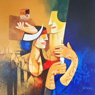 Dreams 3 by Jai Srivastava, Expressionism Painting, Oil & Acrylic on Canvas, Brown color