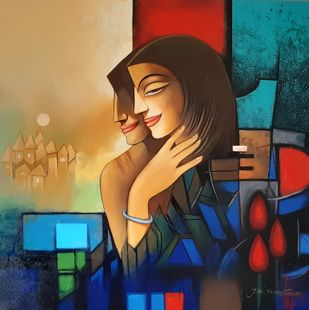 togetherness by Jai Srivastava, Expressionism Painting, Oil & Acrylic on Canvas, Brown color