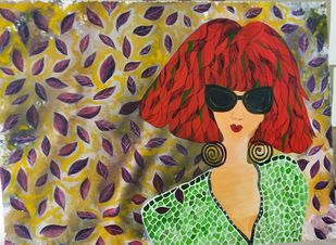 """""""It Girl"""" by Anissha Deshpande, Pop Art Painting, Acrylic on Canvas, Brown color"""