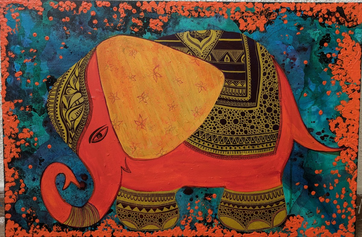 Happy Eleee..... by Anissha Deshpande, Expressionism Painting, Acrylic on Canvas, Brown color