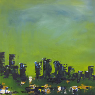 Landscape 2019_16 by Anamika S, Abstract Painting, Acrylic on Canvas, Green color