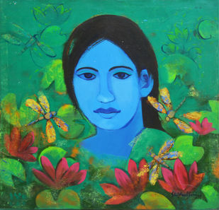Untitled by Shivani Soni , Expressionism Painting, Acrylic on Canvas, Green color