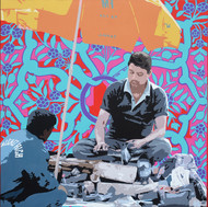 Shoe Police by Sohan Jakhar, Pop Art Painting, Acrylic on Canvas, Blue color