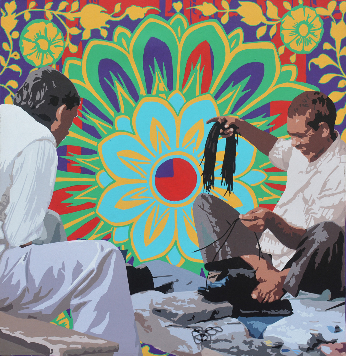 Cobbler Fixing Shoe Laces by Sohan Jakhar, Pop Art Painting, Acrylic on Canvas, Brown color