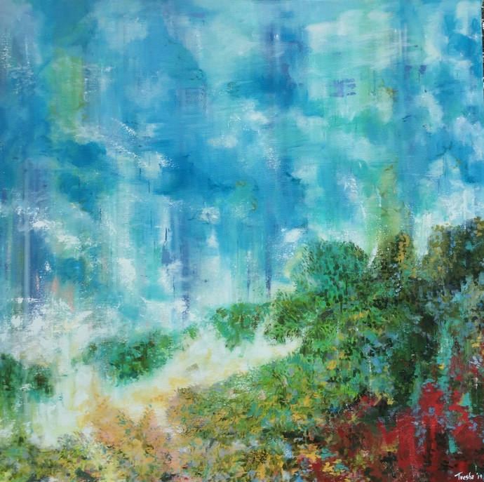 Clouds Settling on Mountain Top Digital Print by Tvesha Singh,Abstract