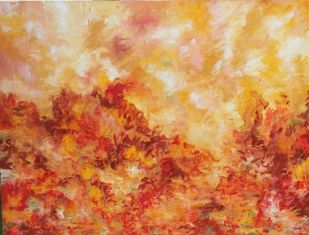 Autumn Fever by Tvesha Singh, Abstract Painting, Acrylic on Canvas, Brown color