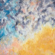Falling by Tvesha Singh, Abstract Painting, Acrylic on Canvas, Beige color