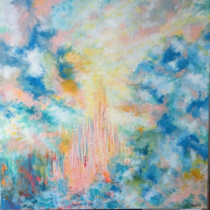 Castles in the Sky by Tvesha Singh, Abstract Painting, Acrylic on Canvas, Cyan color