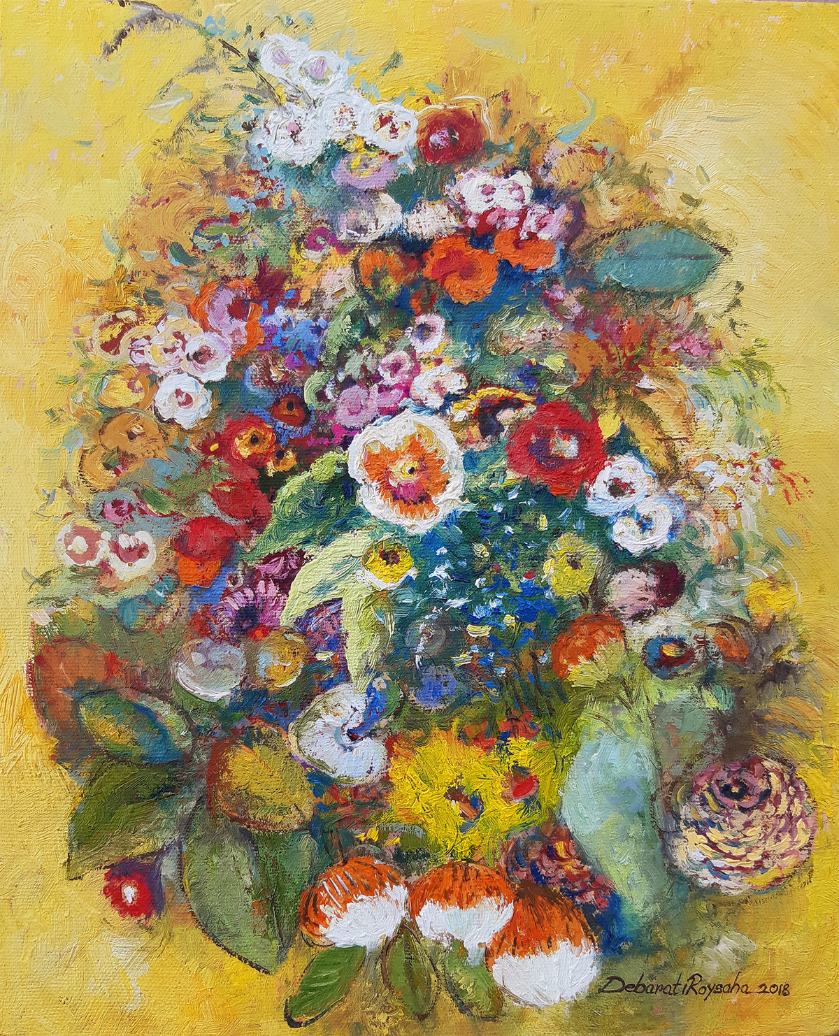 Yellow Spring by Debarati Roy Saha, Expressionism Painting, Oil on Canvas, Beige color