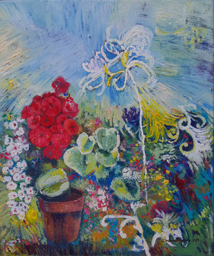 My Garden by Debarati Roy Saha, Expressionism Painting, Oil on Canvas, Green color