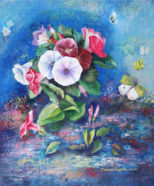 Beside the pond by Debarati Roy Saha, Expressionism Painting, Oil on Canvas, Blue color