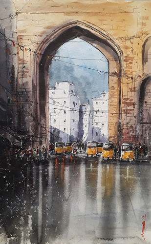 Hyderabad_Rain by Somnath Patra, Impressionism Painting, Watercolor on Paper, Gray color