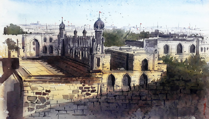 Hyd_fort by Somnath Patra, Impressionism Painting, Watercolor on Paper, Gray color