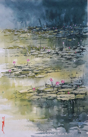 Lotus by Somnath Patra, Impressionism Painting, Watercolor on Paper, Green color