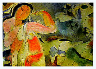 Alone by Judhajit Sengupta, Expressionism Painting, Watercolor on Paper, Green color
