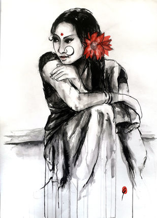 INDIAN LADY 31 by MADURAI GANESH, Illustration Painting, Ink and brush on paper board, Gray color
