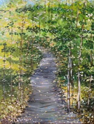 Woods by Kajal Nalwa, Expressionism Painting, Acrylic on Canvas, Green color