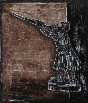 The Little Soldier by Ritu Dhillon, Expressionism Painting, Mixed Media on Canvas, Brown color