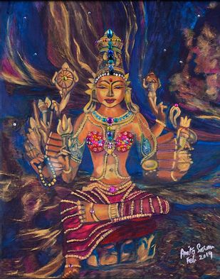 Parvati by Anita Saran, Traditional Painting, Mixed Media on Canvas, Blue color